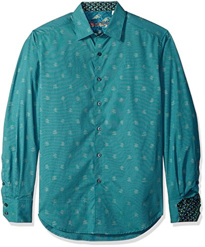 Robert Graham Men's Bosch Long Sleeve Shirt, Teal, - Egyptian Shirt Teal