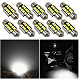 WLJH 31mm LED Festoon Bulb Extremely Bright Canbus Error Free 2835 Chipsets DE3022 DE3175 LED Interior Dome Light Map Door Courtesy Light Bulbs(10pcs,White)