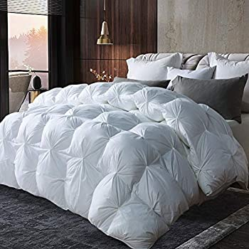 Image of AIKOFUL Luxurious Goose Down Comforter King Size Duvet Insert Pinch Pleat Design,1200 Thread Count 100% Cotton Shell Down Proof with Tabs, 750+ Fill Power, Grey Piping,White Solid Home and Kitchen