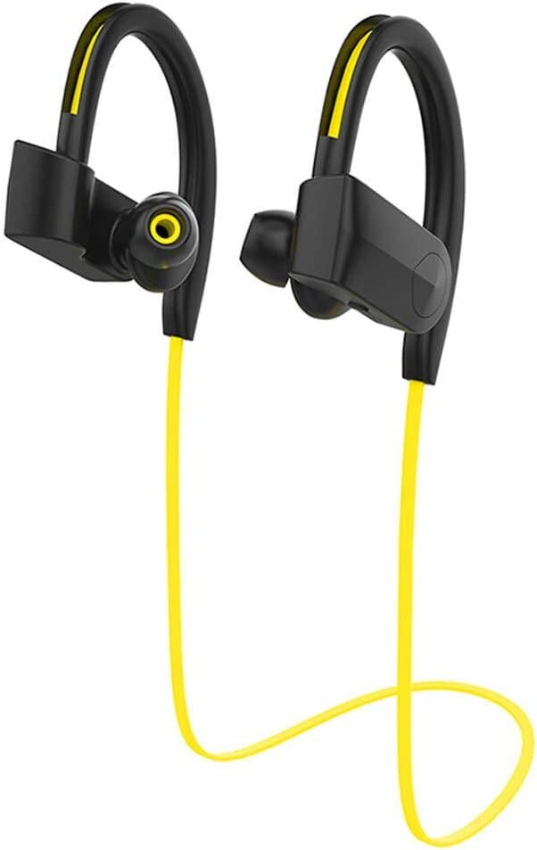 Bluetooth Headphones,IPX7 Waterproof Wireless Sports Headphones,Richer Bass HiFi Stereo in-Ear Earphones with Mic,Noise Cancelling Bluetooth Headsets for Workout/Running/Gym Jogging (Yellow)