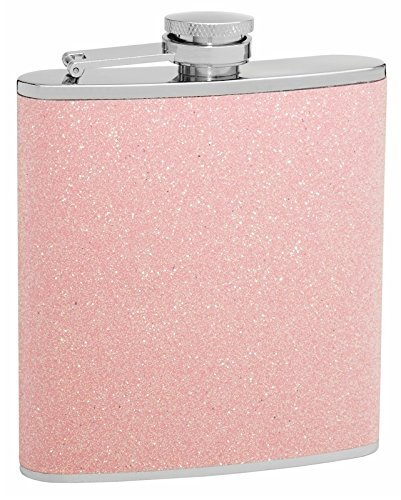 (6oz Pink Glitter Flask; Sparkles in the Light!)
