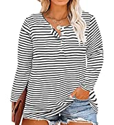 CARCOS Womens Plus Size Henley Tops Long Sleeve Shirts Crewneck Button Up Blouse Pullover XL-5X
