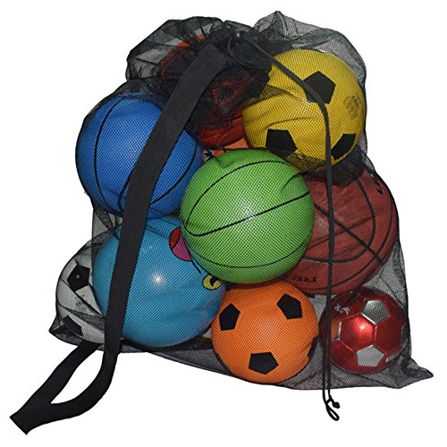 SKOLOO Thicken Drawstring Mesh Ball Bag Large Sports Ball Bags