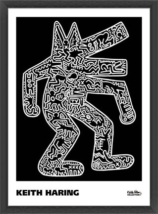 ポスター キース ヘリング Dog 1985 額装品 ウッドベーシックフレーム(ブラック) B072MZCSPG ブラック ブラック