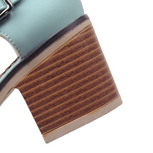 Boucle CCAFLP014883 Sandales à Couleur PU Femme Correct Bleu Unie Talon VogueZone009 Cuir xZvOYqwHg