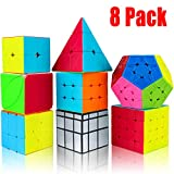 Speed Cube Set, Aitey Magic Cube Bundle 2x2 3x3 4x4 Pyramid Megaminx Ivy Mirror Windmill Stickerless Cube Puzzle Toys for Kids& Adults (8 Pack)