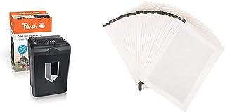 Peach PS500-70 Partikelschnitt Aktenvernichter, 16 Blatt, 18 Liter / 200 DIN A4, 5 x 32 mm Partikel & Basics - Schmiermittelblätter für Aktenvernichter, 24er-Pack