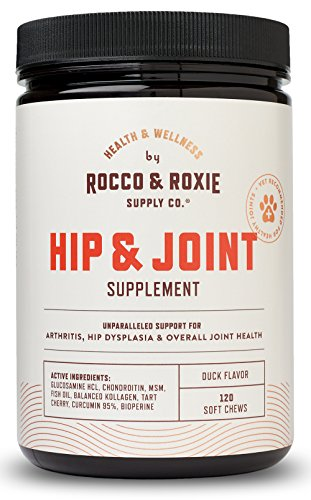 Rocco & Roxie Hip and Joint Supplement – Glucosamine for Dogs with Chondroitin Plus MSM – Maximum Strength Dog Arthritis Pain Relief Support – Chewable Pet Supplements – 120 Soft Chews Treats