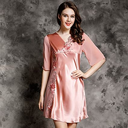 WXIN Pijama De Seda /Mujer /Verano Bordado De Encaje Vestido De Dormir De Seda