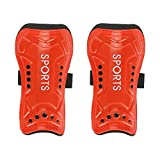 A Pair Child Football Shin Pads Training Leg Guards Sport Safety Protector Adjustable Strap(Red)
