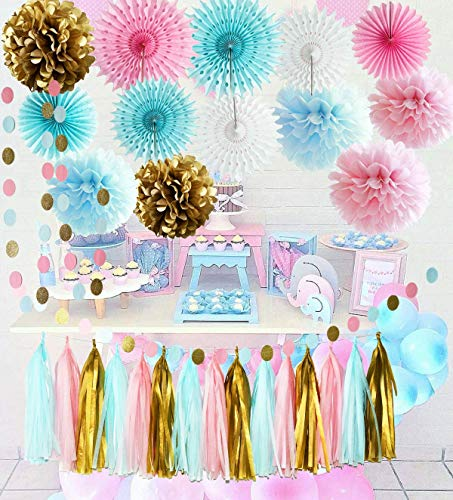Gender Reveal Party Supplies Pink Blue Paper Fans Boy or Girl Baby Shower Decorations Pink Blue Gold Tissue Paper Pom Pom Gender Reveal Party Decorations]()