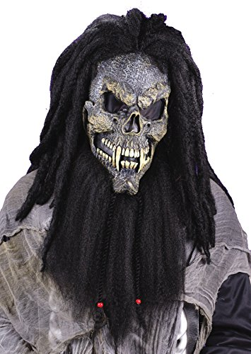 [Morris Costumes Fearsome Faces Skull Terrifying Latex Mask W/ Long Hair Detailing Realistic Look] (Demonic Masks)