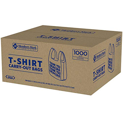tongta 1000 T-Shirt Thank You Carry Out Retail Plastic Bags Recyclable Grocery Shopping (1-Case) from tongta