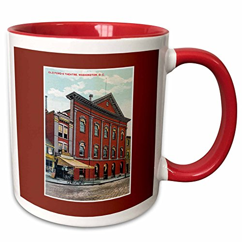 3dRose BLN Vintage US Cities and States Postcards - Old Fords theatre, Washington DC Postcard Reproduction - 15oz Two-Tone Red Mug (mug_170938_10)