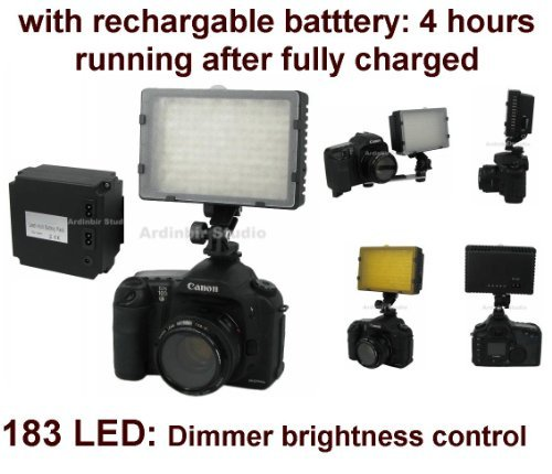 Camera 520lm LED Light with Rechargable Battery (4 hours running) for Leica D-Lux 4, D-Lux 3, S2, V-Lux 1, M9, Digilux 3, D Lux3, Fujifilm Finepix S2 Pro, S3 Pro, S5 Pro -