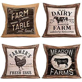 Pillow Covers Rustic Wood Grain with Animal Farm Rooster Bull Cow Cotton Linen Vintage Farmhouse Animal and Words Throw Pillow Case Cushion Cover 18