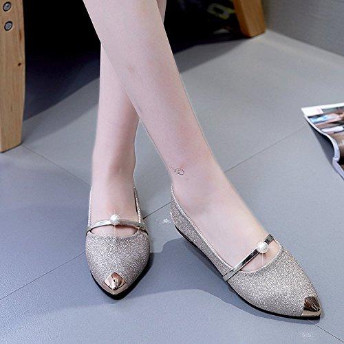 los Solo número de Mujer Zapatos oro El con Plana Mujeres demasiado la un Zapatos Embarazadas Que Blando de Las luz Zapatos Soja Xue bajo es Zapatos de Fondo Qiqi Punta pequeño Zapatos qwHYCY