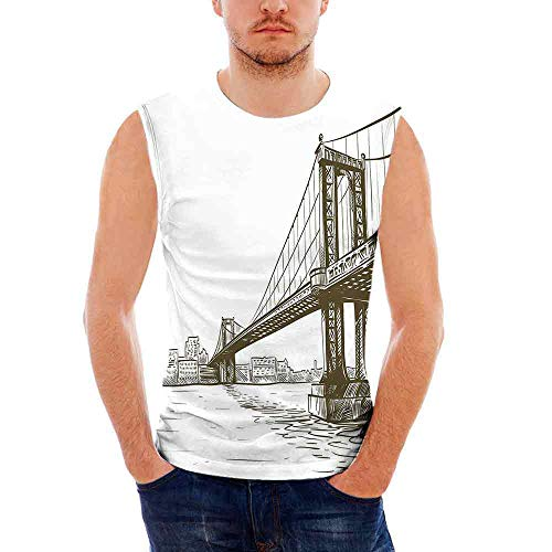 York Heavy Cotton H D,Digital Drawn Brooklyn Bridge Unusual ()