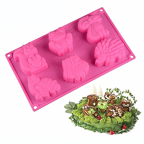 Forest Animals Silicone Mold - MoldFun Squirrel Frog Fox Turtle Owl Hedgehog Tray for Ice Cube, Jello, Cookie Muffin Cake Baking, Chocolate, Soap, Lotion Bar, Wax, Clay, Crayon, Plaster, Concrete (Soap Plaster Mold)