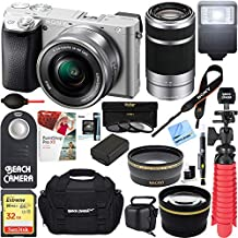 Sony ILCE6300L/S a6300 4K Mirrorless Camera 16-50mm & 55-210mm Zoom Dual Lens Kit (Silver) + 32GB Accessory Bundle +DSLR Photo Bag +Extra Battery+Wide Angle Lens+2X Telephoto Lens+Flash+Remote+Tripod