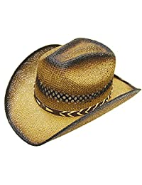 Modestone Unisex Straw Cowboy Hat Tan Black