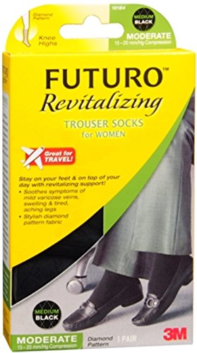 FUTURO Revitalizing Trouser Socks For Women Medium Black 1 Pair (Pack of 4)