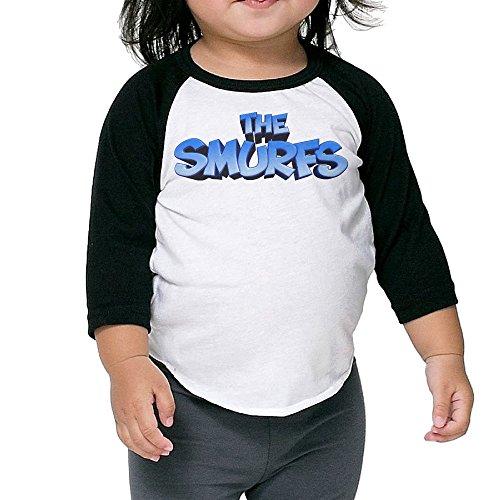 Baby Unisex Plain Raglan Smurfs Logo Baseball Shirts -