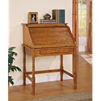 Inland Empire Furniture Nodin Oak Solid Wood Roll Top Secretary Desk