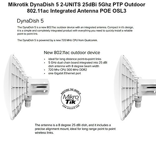 Mikrotik DynaDish 5 2-UNITS 25dBi 5Ghz PTP Outdoor 802.11ac Integrated Antenna by Mikrotik