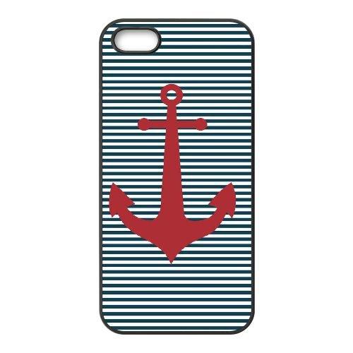 T5S92 Navy Stripes Anchor P2C1EK coque iPhone 4 4s cellule de cas de téléphone couvercle coque noire KU9QDQ8VK