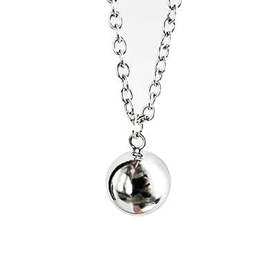 DP Design® Cadena/collar con colgante llamador de ángeles, bola mexicana plateada de 2,2 cm, cadena de 126 cm de longitud, cód. V2