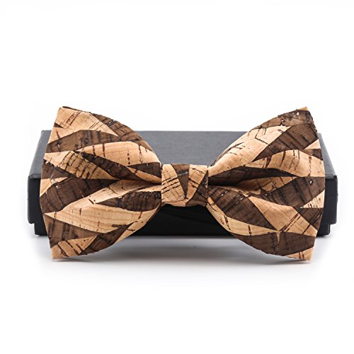 KOOWI Creative Handcrafted Men's Wooden Bow Tie Handmade Wood Necktie for Wedding or Daily Wear (One Size, G)