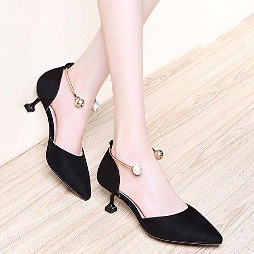 Han tacon Zapatos de de de de verano gato zapatos edicion hijos de mujer zapatos la primavera y primavera y JRFBA zapatos de Black la dPxXvwv