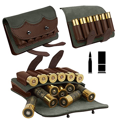 BronzeDog Leather Ammo Cartridge Belt Shell Holder Rifle Pouch Shotgun Bag Hunting Wallet 7.62 cal or 12 gauge (12 gauge)