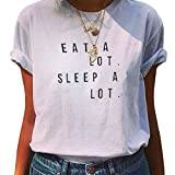 YITAN Women's Casual Graphic Tees Summer Printed Short Sleeve Cute Funny T Shirts White 2X-Large