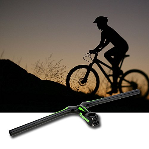 New Road Bike Flat Handlebar 620 110mm Integrative Full Carbon Fiber Mountain Bike Handlebar with Stem (Green) by Taya (Image #1)