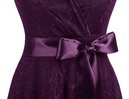 Cocktail Dresstells de Robe d'honneur Manches Courtes Empire Forme en Robe de de Soire Dentelle V Raisin col Demoiselle qrItxrwA8