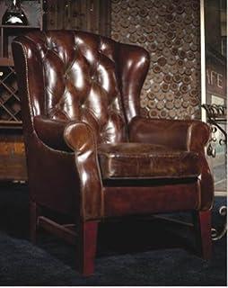 Phoenixarts Vintage Echtleder Chesterfield Ledersessel Braun Design