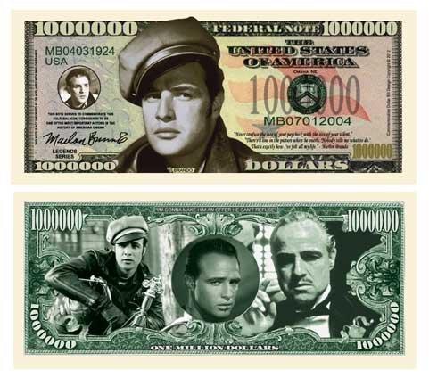 American Art Classics Marlon Brando Million Dollar Bill (Pack of 5) - Best Gift for Fans of This Legendary Actor