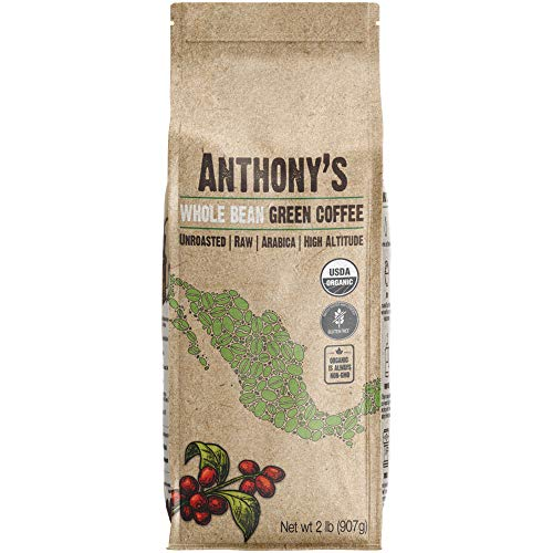 Anthony's Organic Unroasted Whole Green Coffee Beans (2lb) Mexican Altura Arabica Beans, Raw, Batch Tested Gluten Free