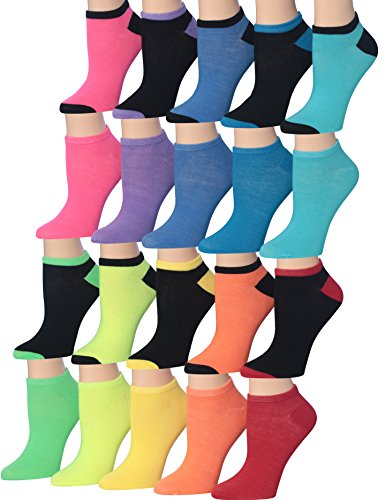 - Tipi Toe Women's 20 Pairs Colorful Patterned Low Cut / No Show Socks, (sock size9-11) Fits shoe size 6-12, WL02-AB
