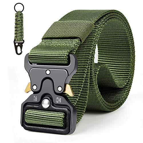 Qhui Taktischer Gürtel, Schwerlast Herren Nylon Militär Gürtel, Schnellverschluss Metallschnalle Tactical Rigger Gürtel mit Wasserkocher-Schnalle für Draussen Sportarten Camping 130 * 3.8cm