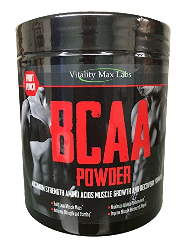 Vitality Max Labs BCAA Powder - Fruit Punch Flavor - Maximum Strength Muscle Enhancing & Body Firmer Workout Formula (1)
