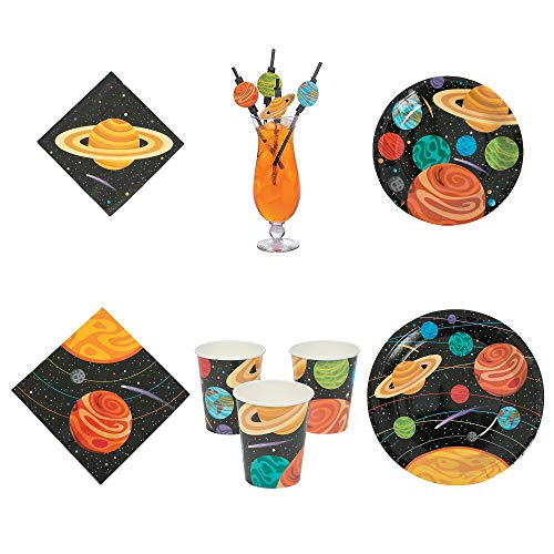 Fun Express Space Party Bundle   Paper Straws, Luncheon & Party Napkins, Dinner & Dessert Plates, Cups   Great for Themed Birthday Party, Science Fair, Graduation Celebration