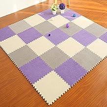 "yazi EVA Foam Anti-Slip Foam Puzzle Floor Play Mat Kid's Multicolored Shapes Puzzle Play Mat Purple Color , 17"" x 17"" x 0.43"""