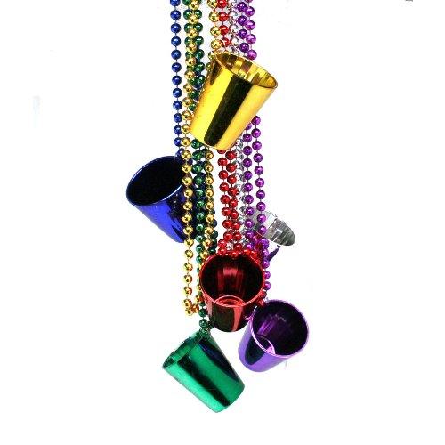 12 Shot Glass Bead Necklaces - Metallic Colors