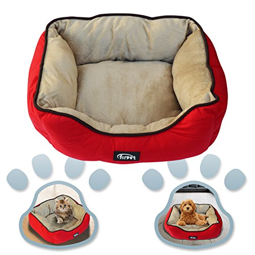 Fleece Nest Dog Bed - BenefitUSA SMALL RED Pet Dog Puppy Cat Soft Fleece Warm Bed House Sofa Cotton Plush Nest Mat Sleeping Bed