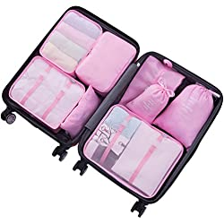 8 Pieces Packing Cubes Travel Luggage Organizer with Shoes Bag (Style A, Pink)