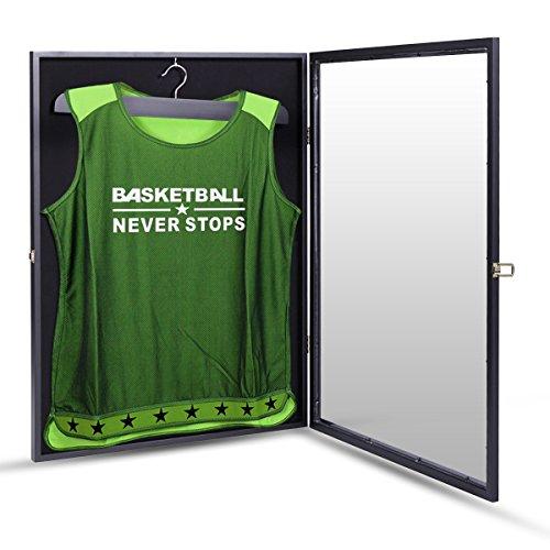 (JAXPETY Jersey Display Case Basketball Baseball Football Hockey Soccer UV Shadowbox Black)