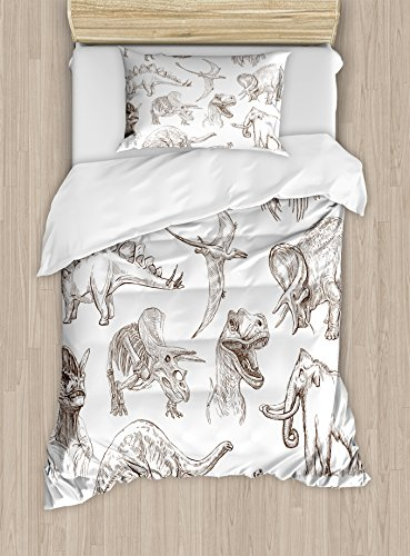 Ambesonne Jurassic Twin Size Duvet Cover Set, Arrangement of Various Dinosaurs Illustrations Skeleton Biology Historic, Decorative 2 Piece Bedding Set with 1 Pillow Sham, Dark Brown White